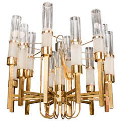 Gaetano Sciolari Chandelier With Brass and Glass Tubes