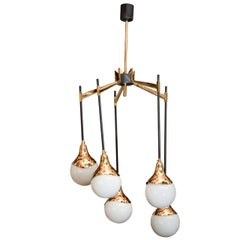 1950s Italian Chandelier in the Style of Stilnovo with Glass Globes
