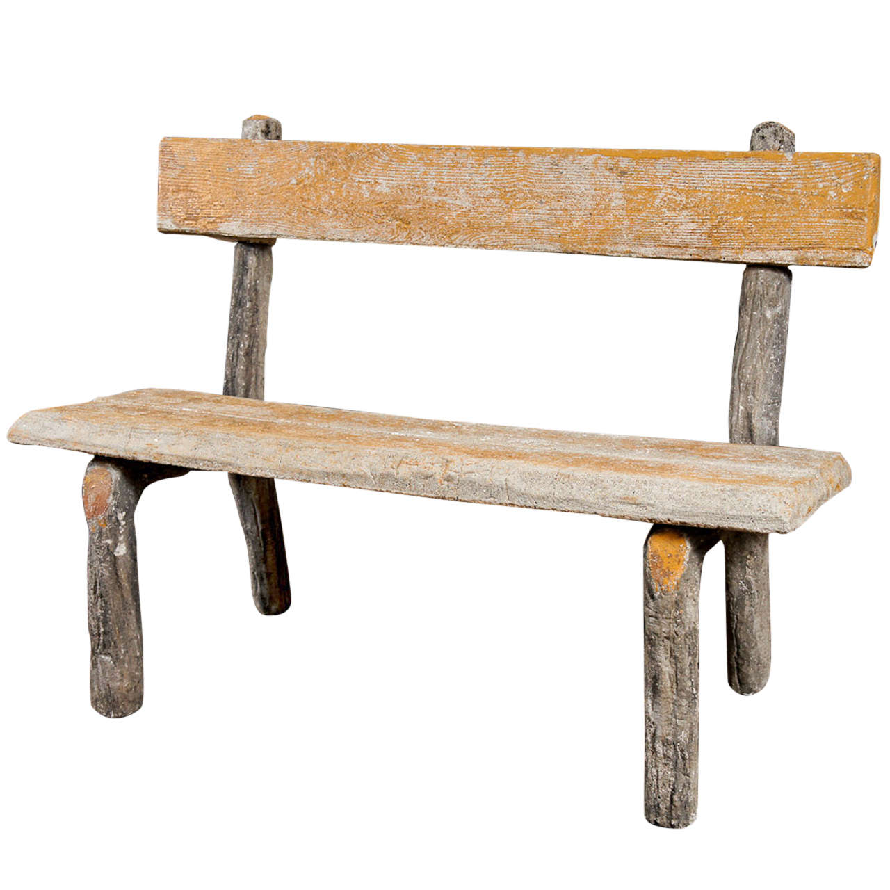 French faux bois stone garden bench at 1stdibs Stone garden bench