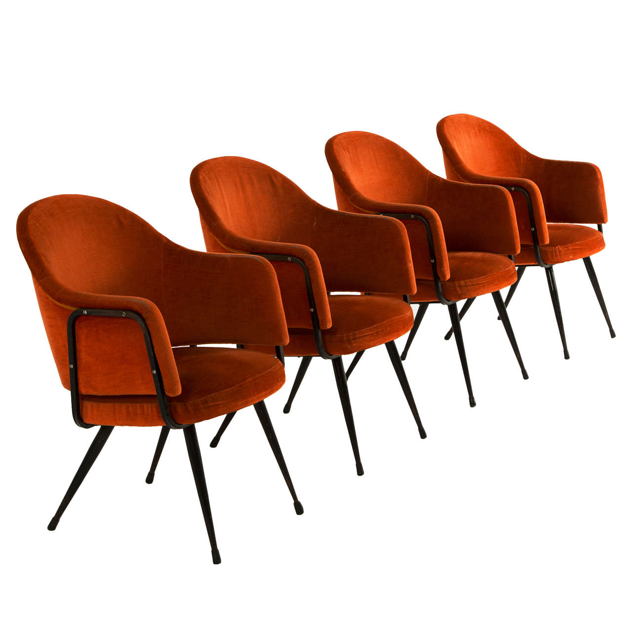 Interesting set of four armchairs by giafranco frattini at for Interesting armchairs