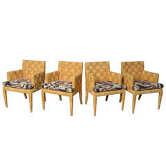 Set of Four Angelo Donghia Woven Rattan Armchairs
