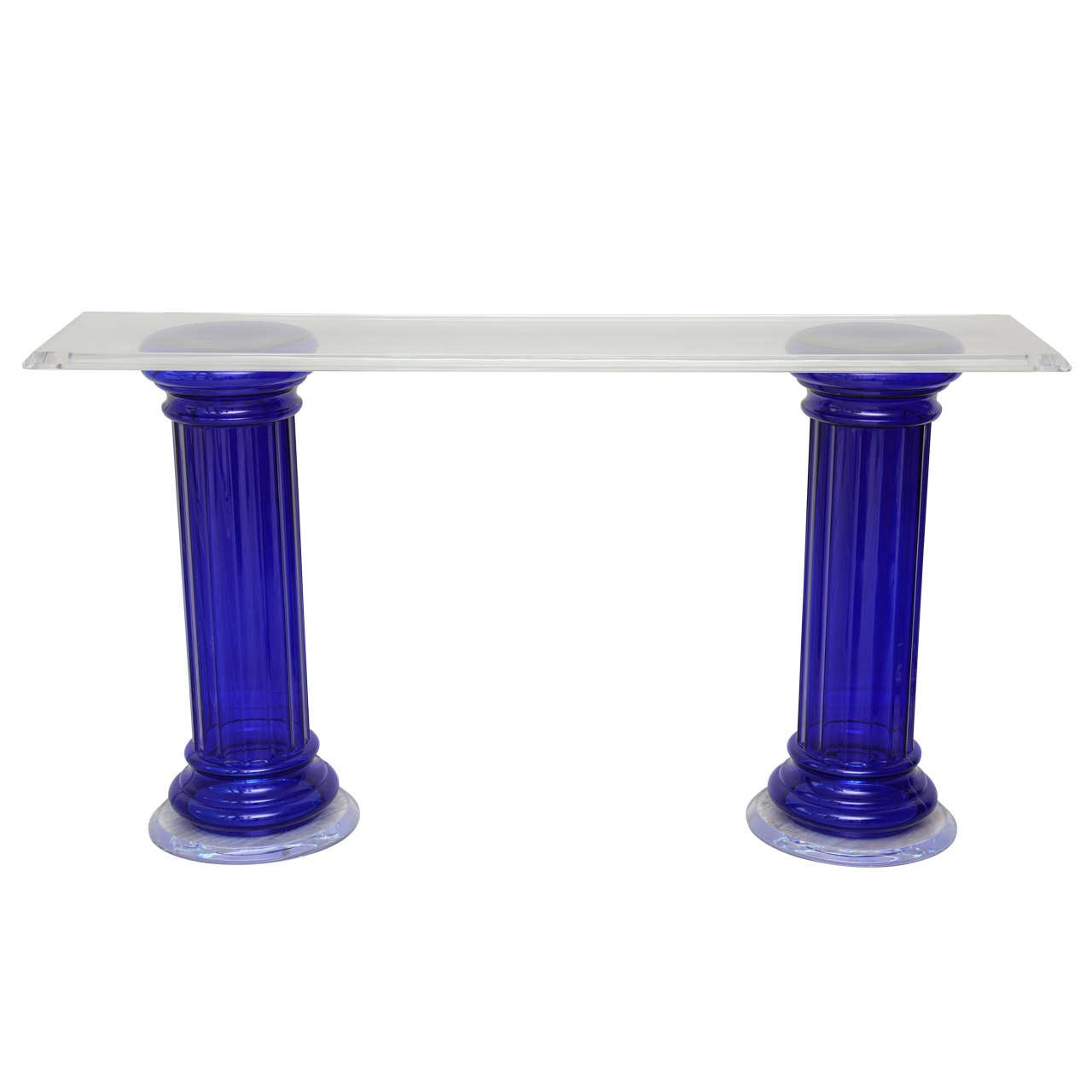 Neoclassical Lucite and Cobalt Blue Glass Console