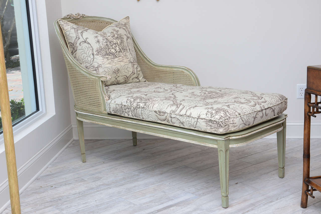 Louis xvi style french caned chaise lounge for sale at 1stdibs for Toile chaise longue