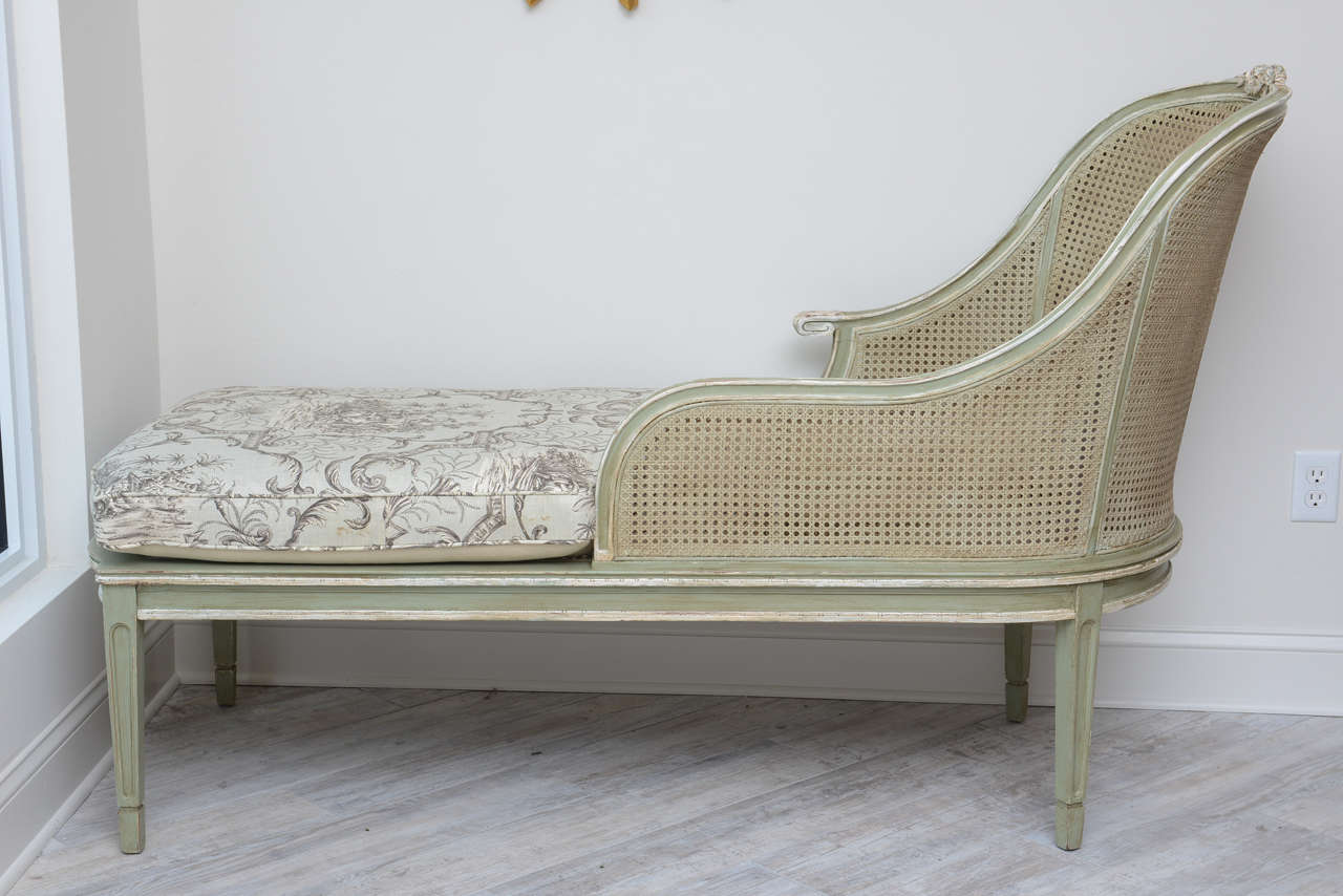 Louis xvi style french caned chaise lounge for sale at 1stdibs for Chaise louis xvi