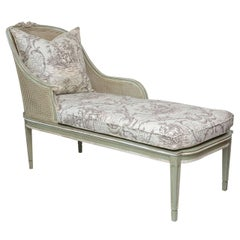 Louis XVI Style French Caned Chaise Longue
