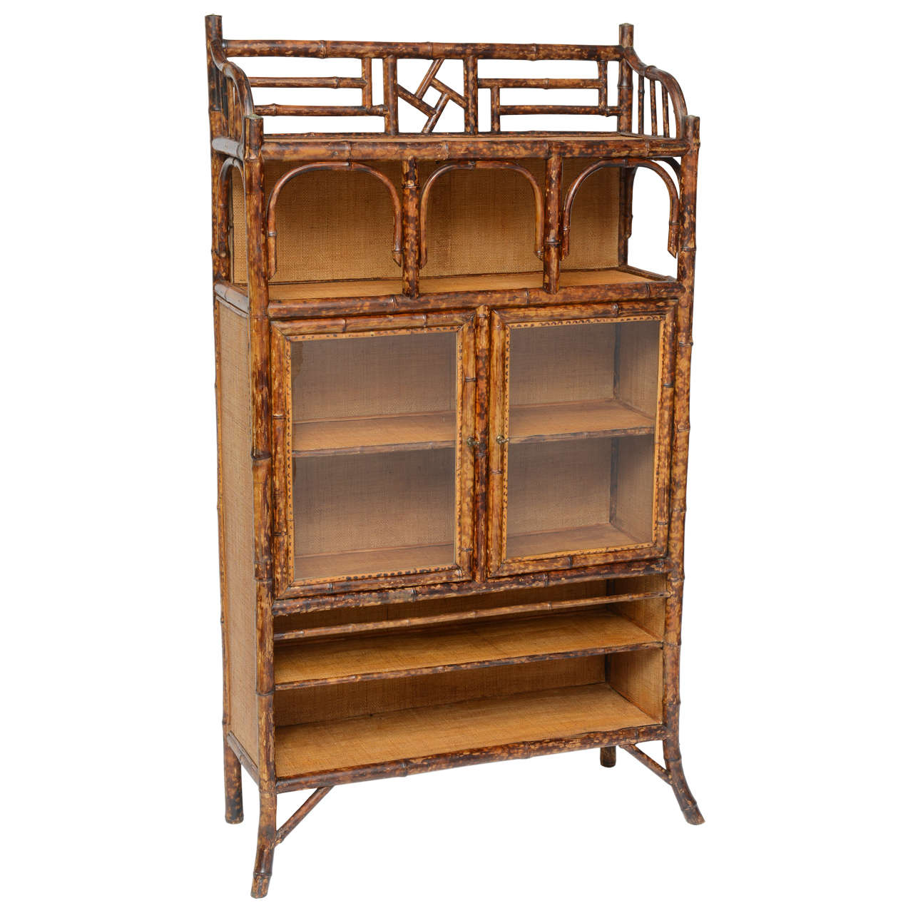 Beau Antique Bamboo Cabinet For Sale
