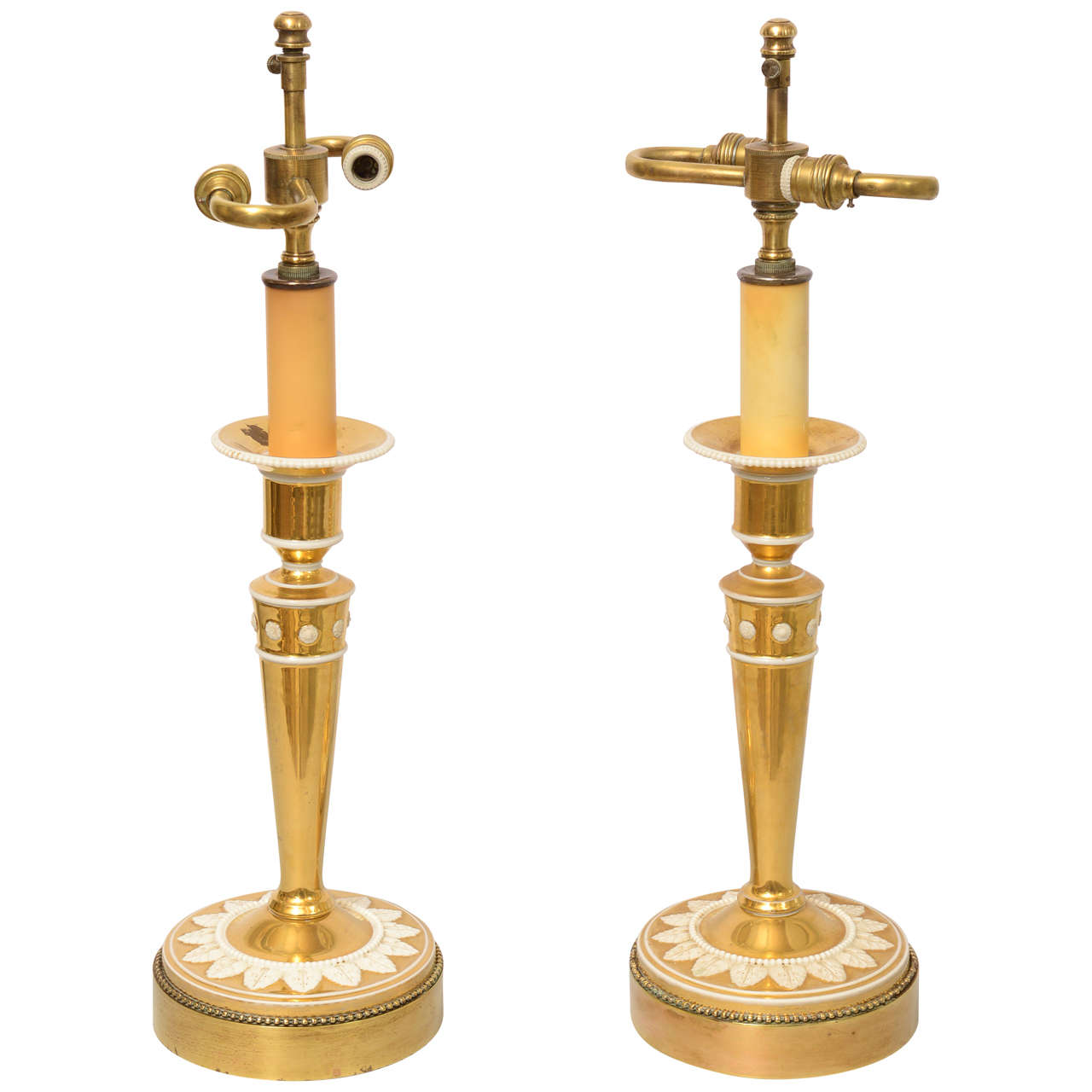 Fine Pair of Gilt Porcelain Candlestick Lamps