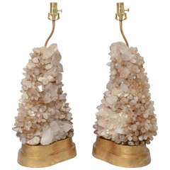 Rare Pair of Carole Stupell Rock Crystal Lamps