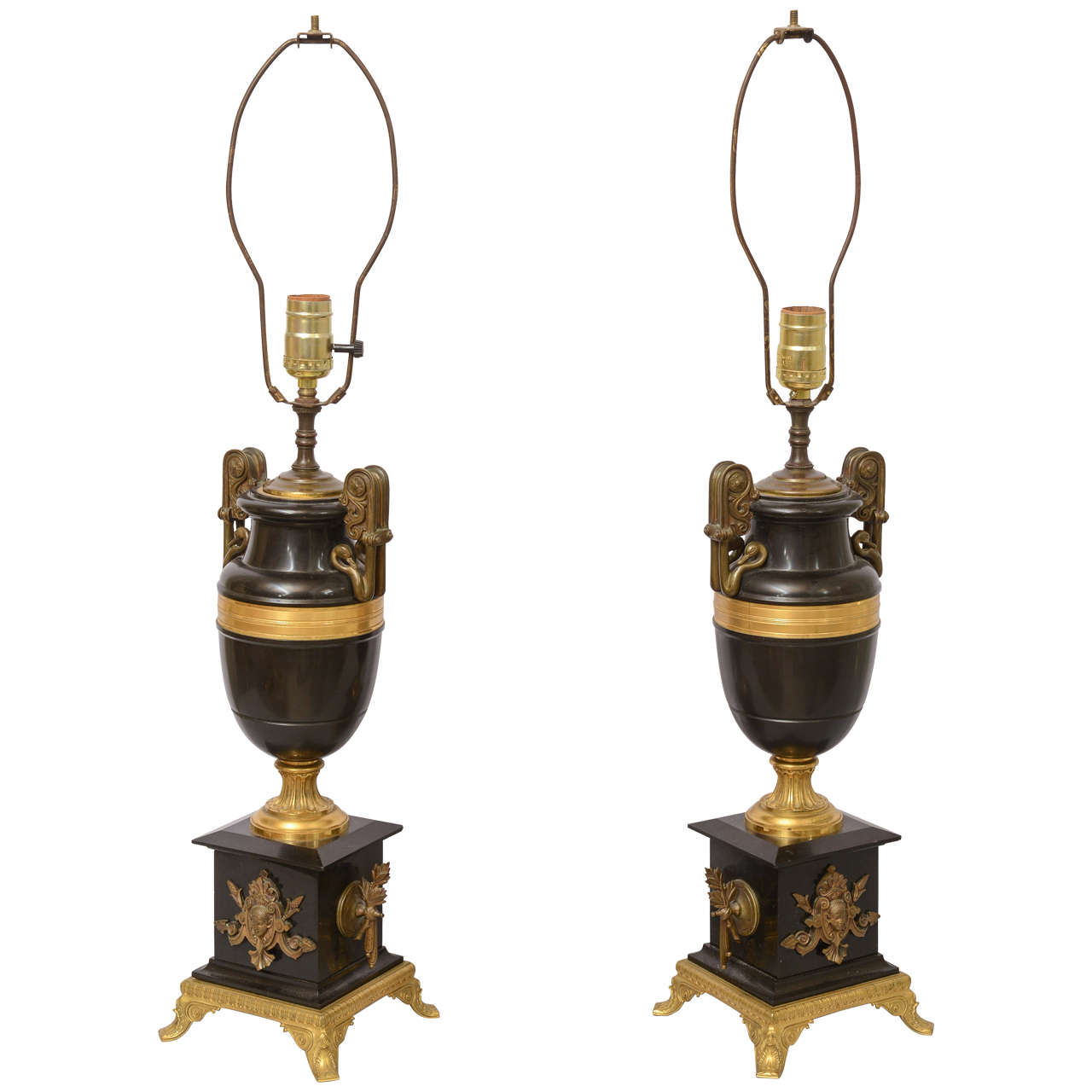 Pair of 19th Century French Neoclassical Urn Lamps