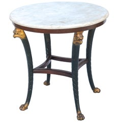 Regency Style Occasional Table with Carrara Marble Top