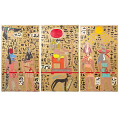 Egyptian Art Deco Themed Art Panels Triptych Book of the Dead Symbolism