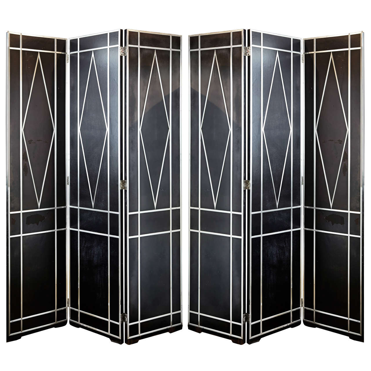 Pair of Massive Art Deco Revival Folding Screens