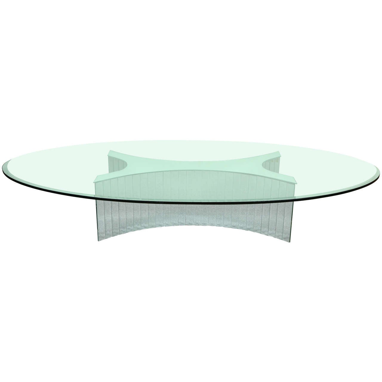 Fabulous large mirror snd glass oval coffee table at 1stdibs Large glass coffee table