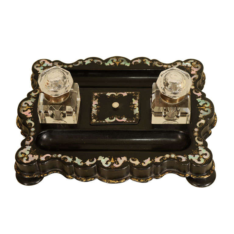 Victorian Inkwell with Mother-of-Pearl Inlay