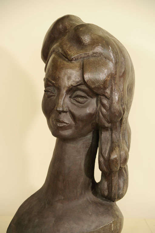 Bronze Bust of a Woman Signed E. Nay For Sale 5