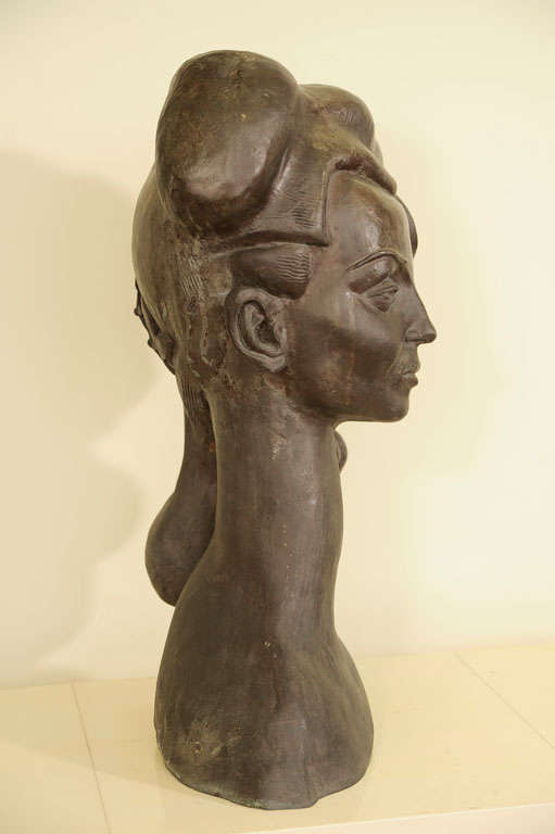 Bronze Bust of a Woman Signed E. Nay In Good Condition For Sale In NYC, NY