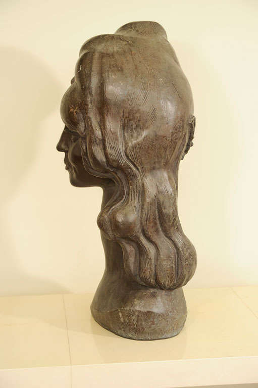 Bronze Bust of a Woman Signed E. Nay For Sale 3