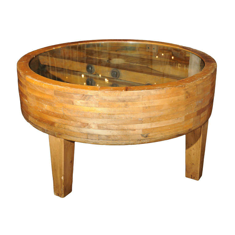 Wooden Wheel Table ~ Leather belt pulley repurposed as coffee table at stdibs