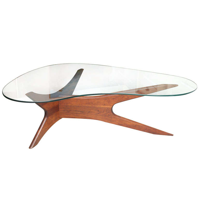 Sculptured danish 60 39 s coffee table in the vladimir kagan for Coffee table 60 x 60