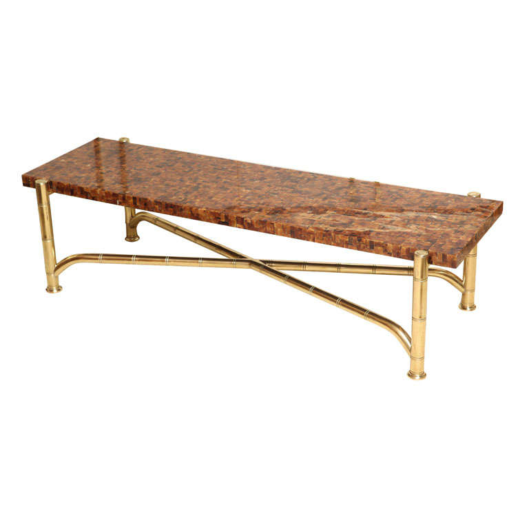 Maitland Smith Brass And Horn Cocktail Table