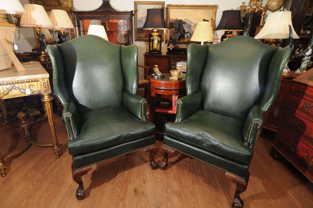 19th century english chippendale wing chairs 2