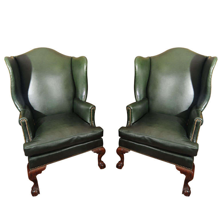 19th century English chippendale wing chairs