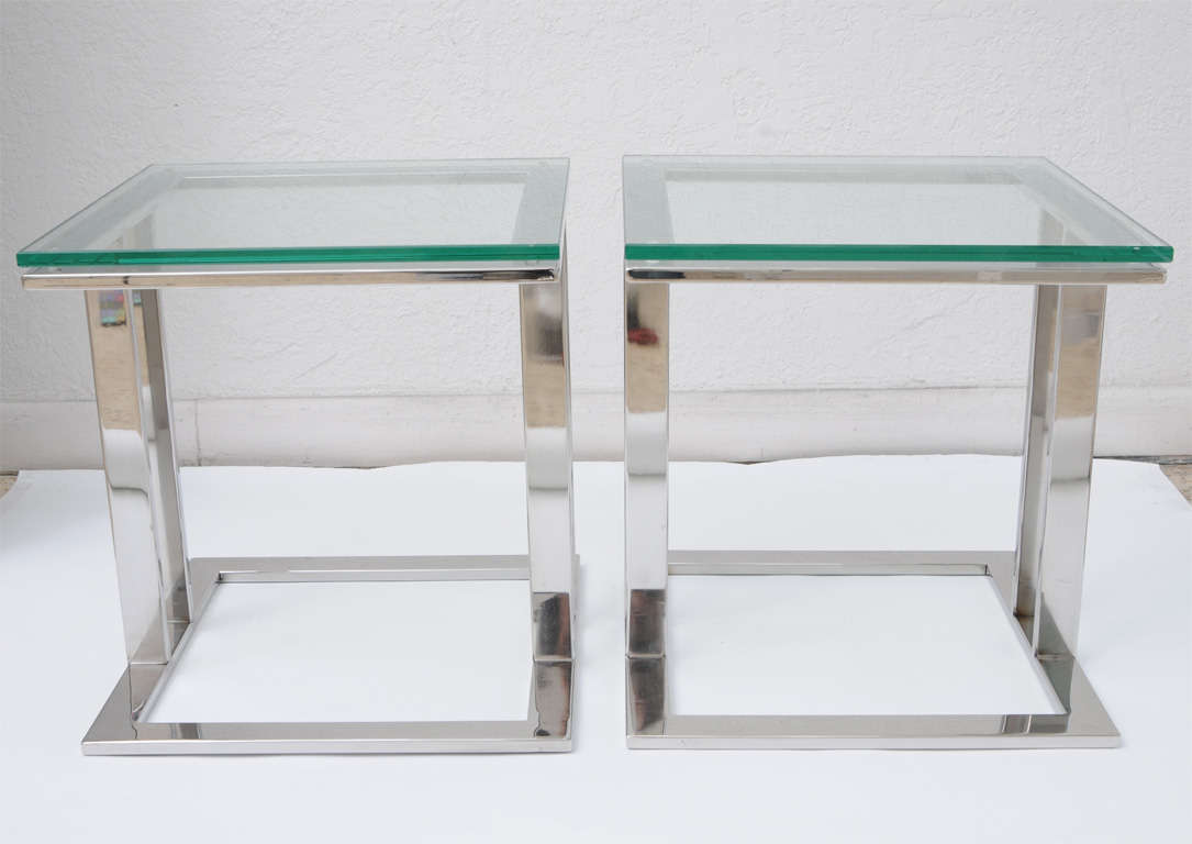 Pair Of Stainless Steel Glass Side Tables Image 4