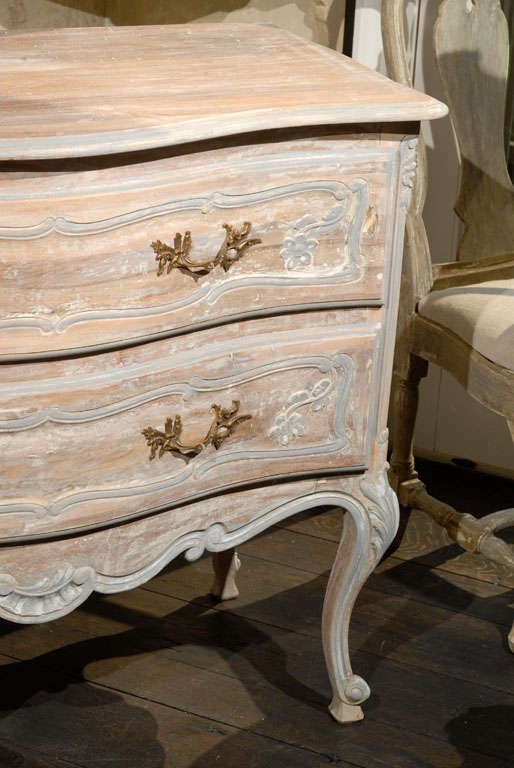A French Two-Drawer Chest with Tall Cabriole Legs In Good Condition For Sale In Atlanta, GA
