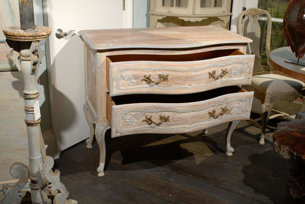 Paint A French Two-Drawer Chest with Tall Cabriole Legs For Sale