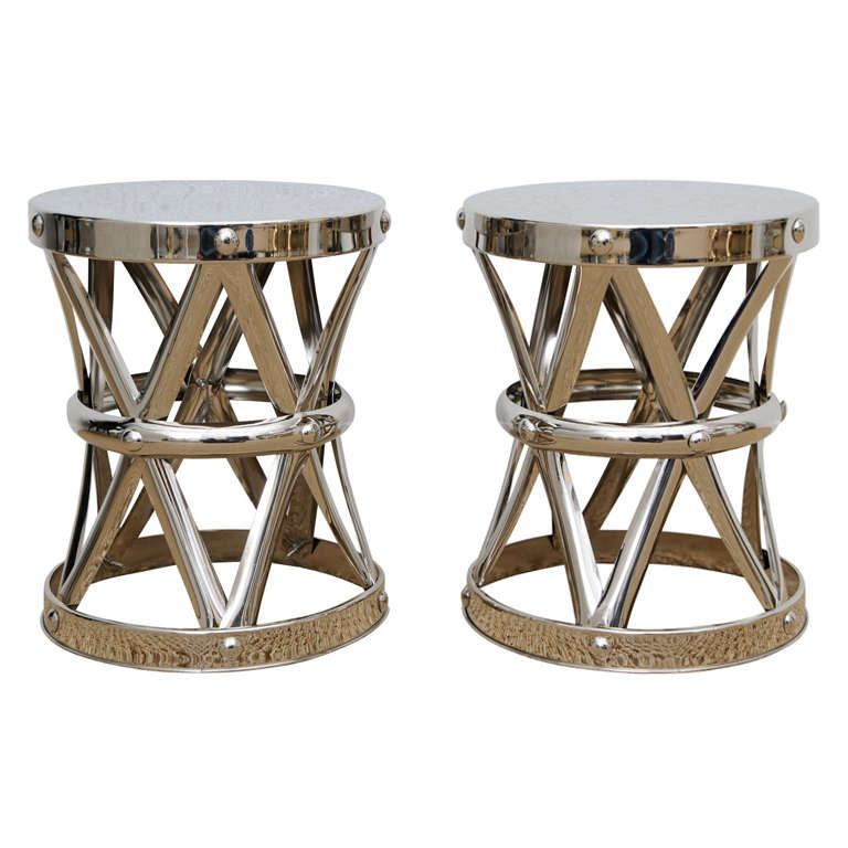 Pair Hollywood Regency X Banded Garden Stools Tables At