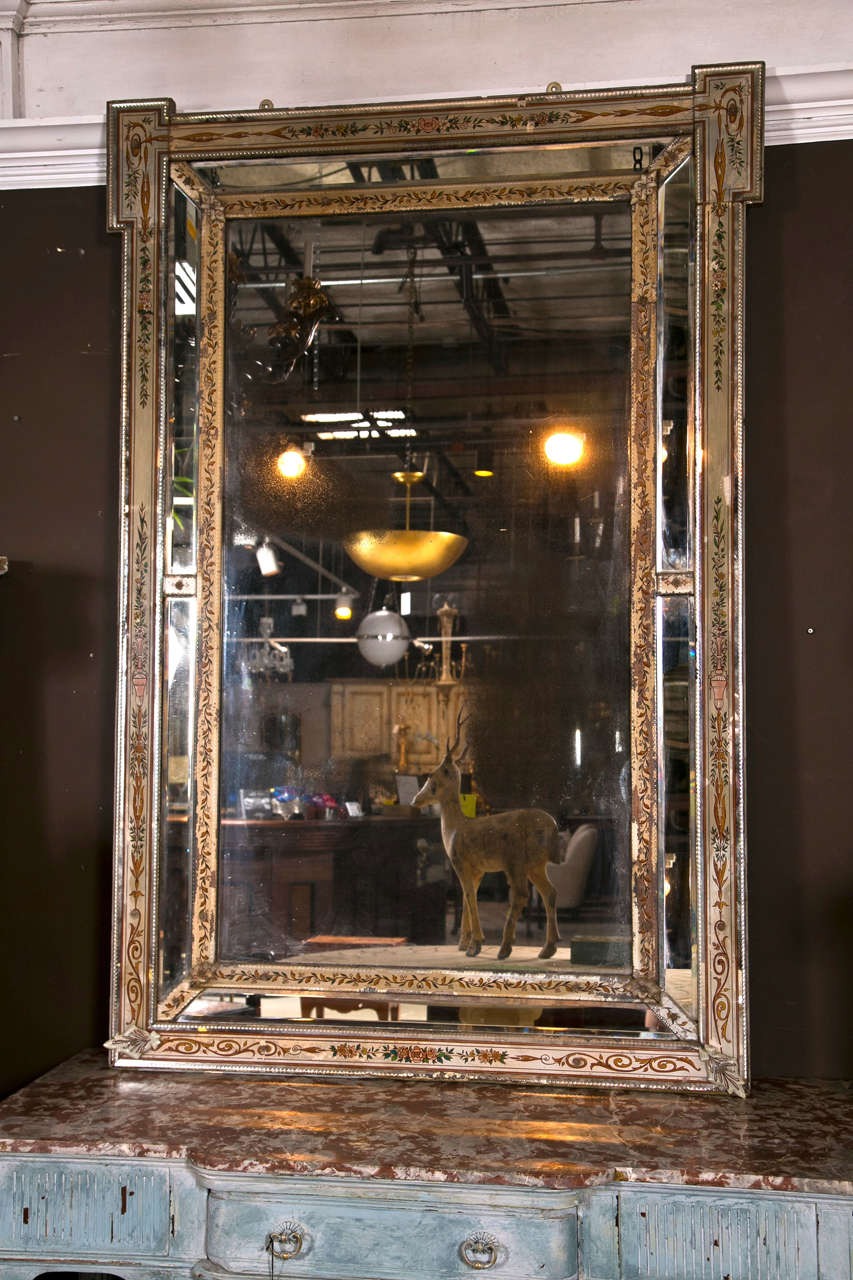 Venetian Reversed Painted Mirror Framed Mirror For Sale At