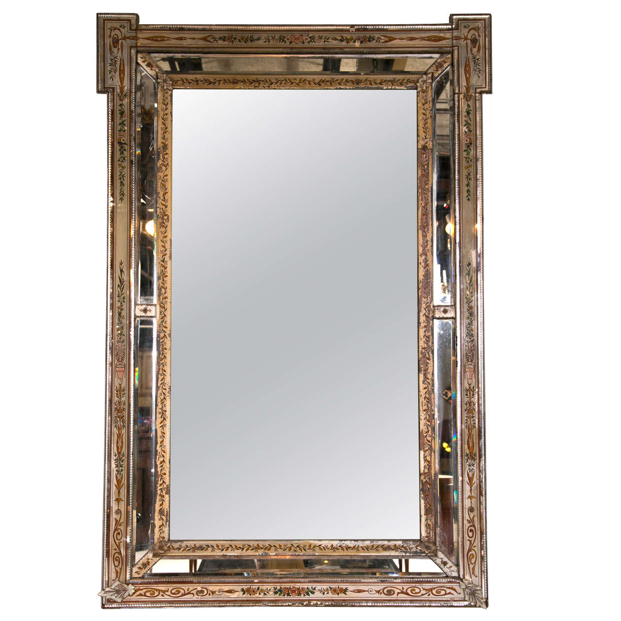 Venetian Reversed Painted Mirror Framed Mirror For Sale at 1stdibs