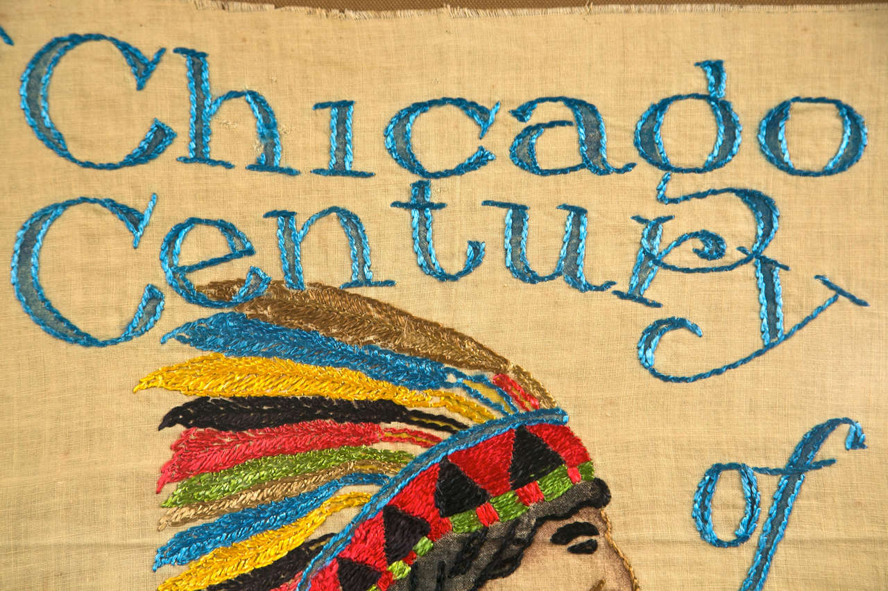 1933 Chicago Century Framed Needlepoint In Excellent Condition In Stamford, CT