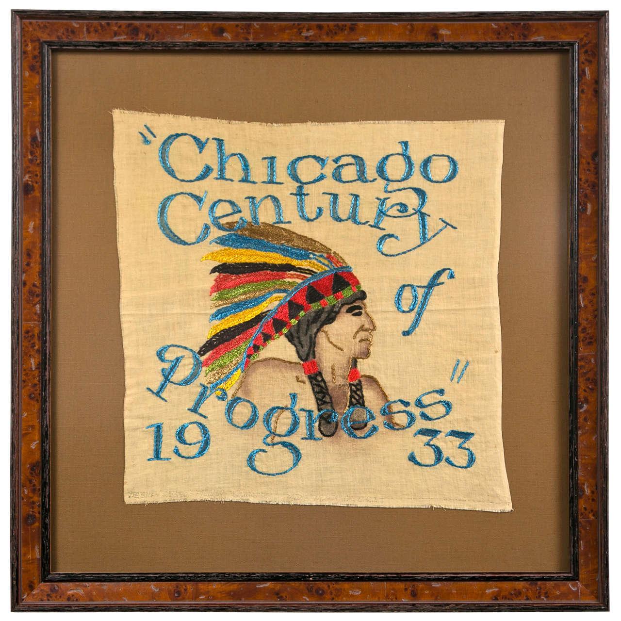 1933 Chicago Century Framed Needlepoint