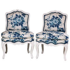 Pair of Small Painted White Slipper Chairs