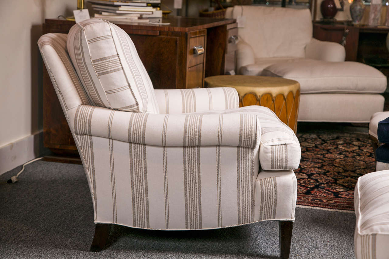 Striped Club Chair With Ottoman At 1stdibs