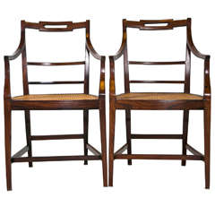 Pair of Rosewood Armchairs with Caned Seats