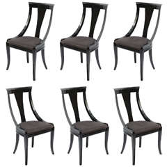 Set of Six Black Lacquer Side Chairs by Pietro Constantini