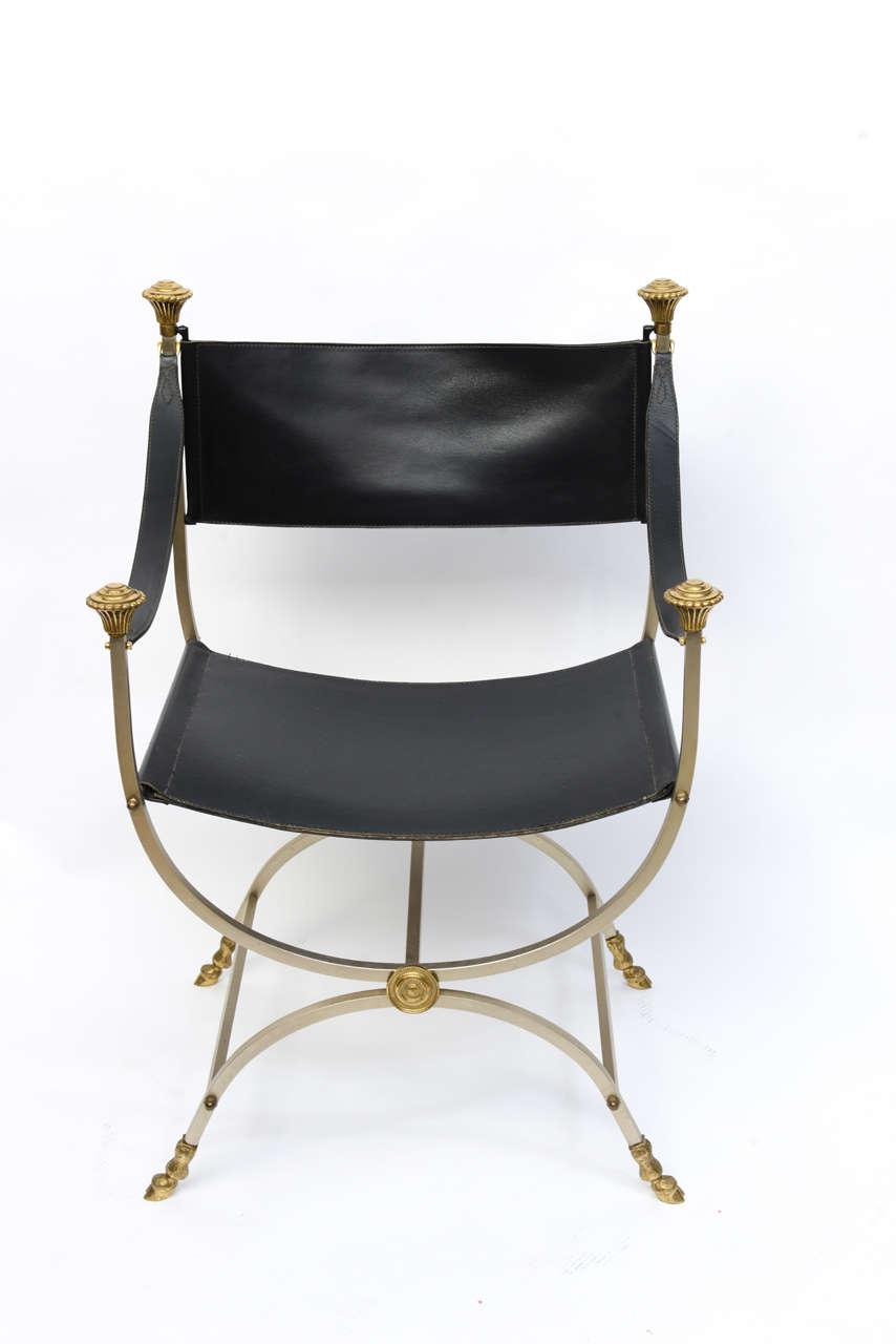 Italian Pair of Neo Classical Style Savonarola Chairs For Sale
