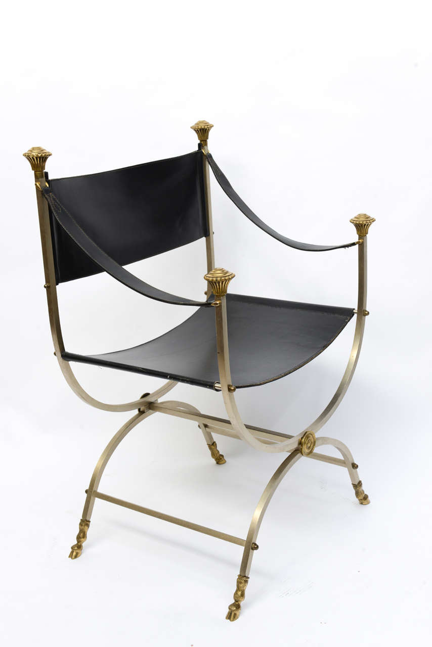 Late 20th Century Pair of Neo Classical Style Savonarola Chairs For Sale