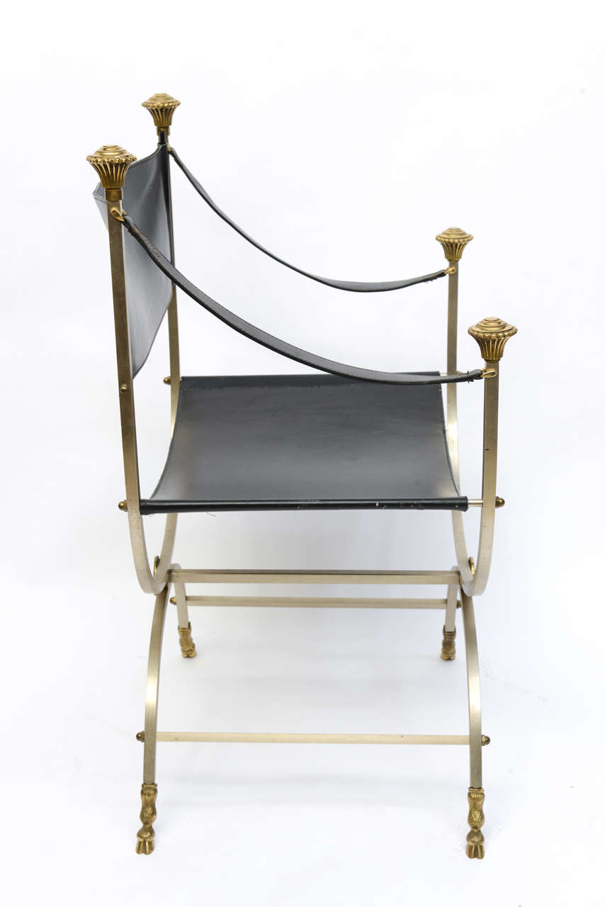 Pair of Neo Classical Style Savonarola Chairs For Sale 1