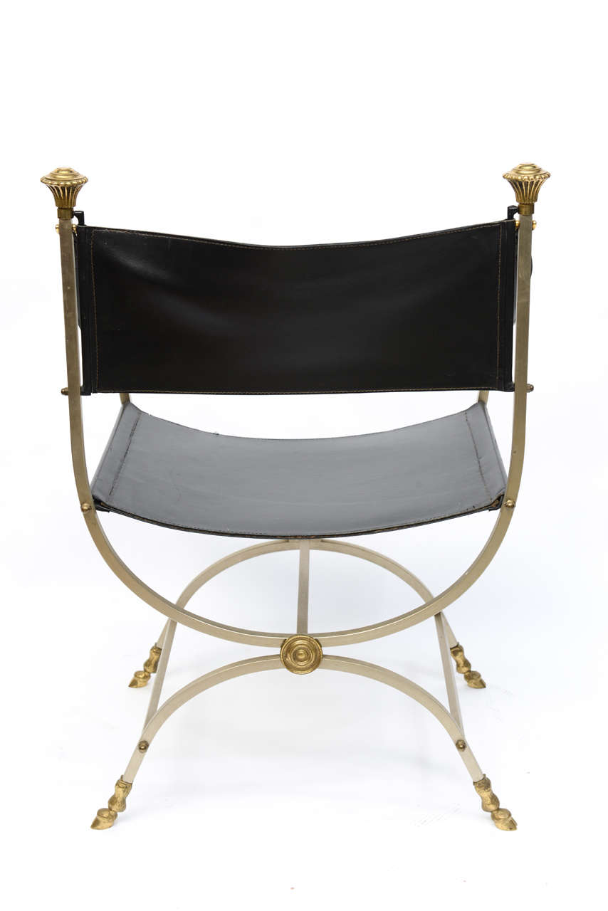 Pair of Neo Classical Style Savonarola Chairs For Sale 3