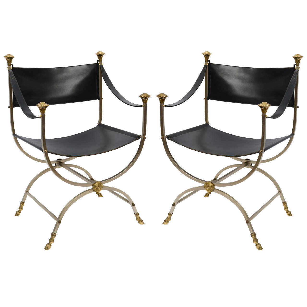 Pair of Neo Classical Style Savonarola Chairs For Sale