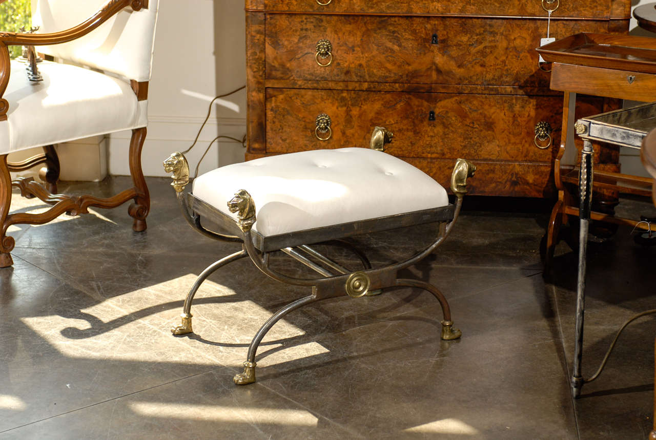 Steel And Brass Stool With Lion Heads At 1stdibs