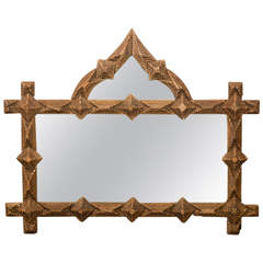 French Unusual Tramp Art Mirror with Pointed Crest and Diamond Motifs