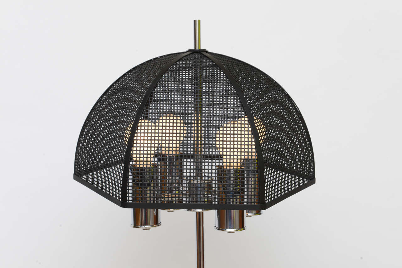 chrome bouillotte style table lamp metal mesh umbrella shade image 4. Black Bedroom Furniture Sets. Home Design Ideas