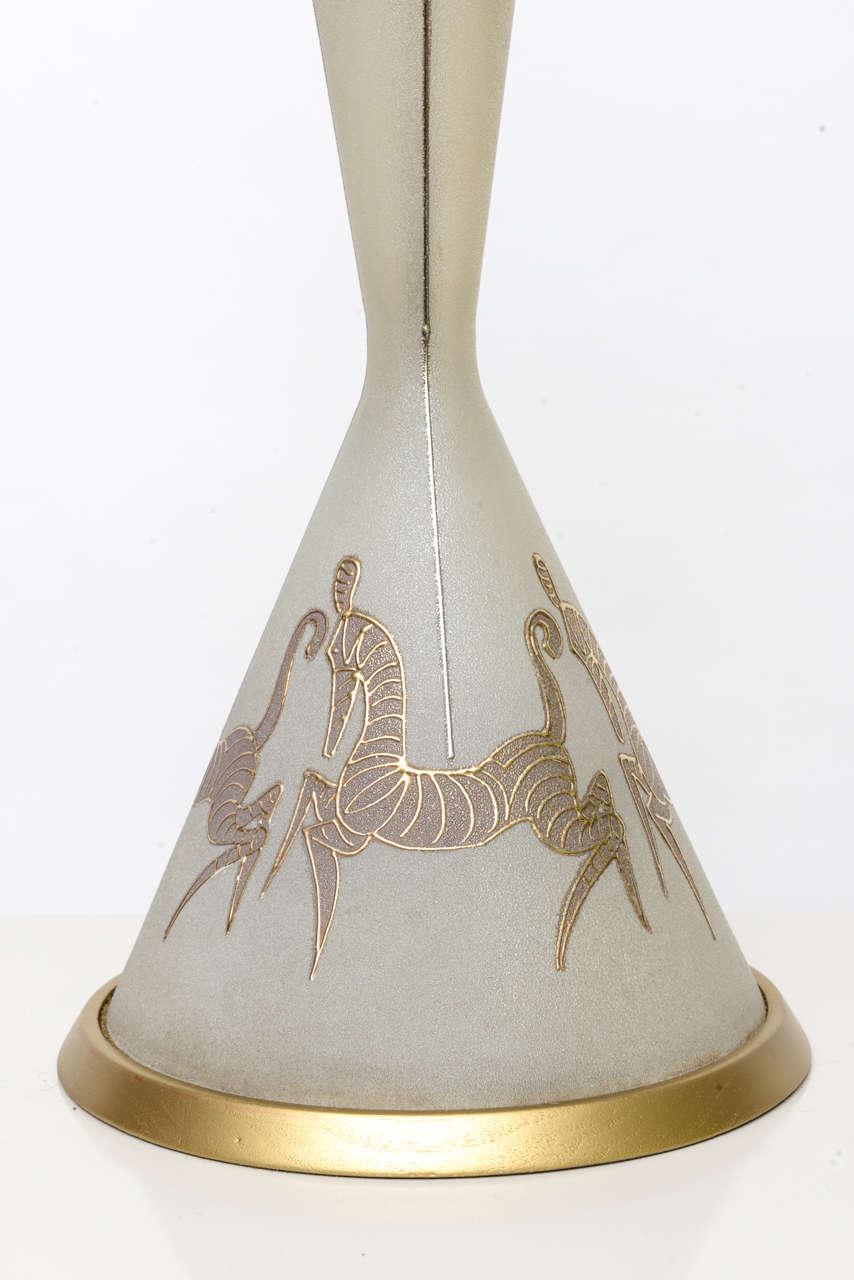 Mid-Century Modern Tall Waylande Gregory Style Zebra Carousel Motif Table Lamp For Sale