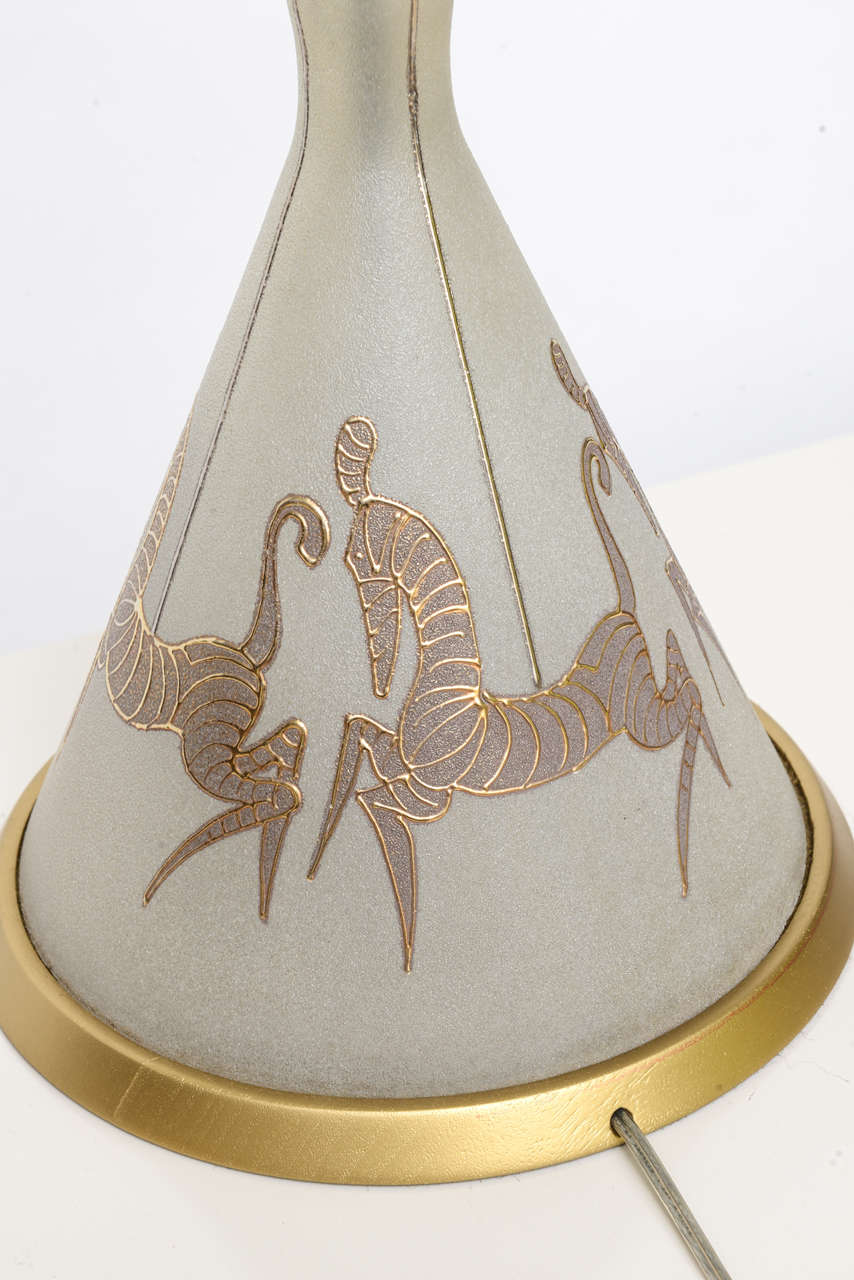 Brass Tall Waylande Gregory Style Zebra Carousel Motif Table Lamp For Sale