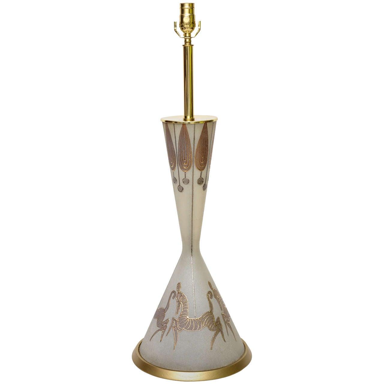 Tall Waylande Gregory Style Zebra Carousel Motif Table Lamp