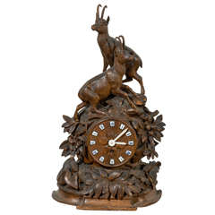 German Black Forest Carved Wooden Table Clock with Chamois Figures, circa 1890